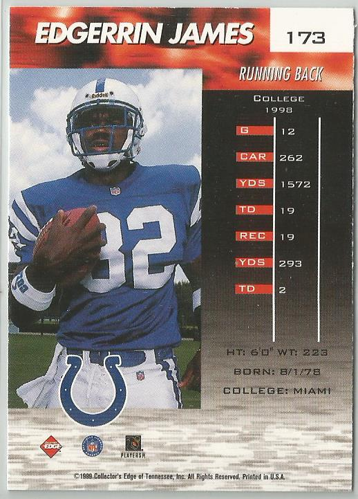 Edgerrin James 1999 Collectors Edge FURY Millennium Collection  Rookie Card - jjb-hobby-crafts