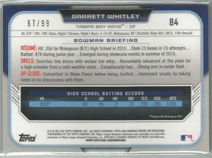 Garrett Whitley 2015 Bowman Chrome #84 1st Bowman Green Refractor 67/99 - jjb-hobby-crafts