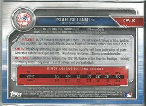 Isiah Gilliam  2019 Bowman Chrome 1st Bowman Autograph #CPA-IG