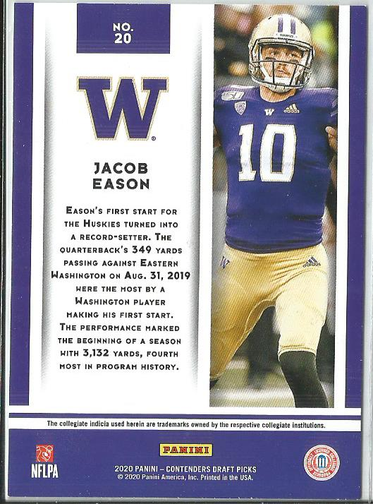 Jacob Eason 2020 Contenders Draft Picks Game Day Ticket Rookie Card #20
