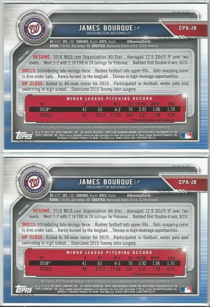 James Bourque 2019 Bowman Chrome 1st Bowman Autograph Lot Base and Blue 042/150 - jjb-hobby-crafts