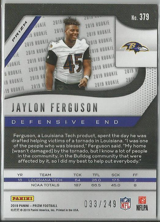 Jaylon Ferguson 2019 Prizm Rookie Card Orange Prizm 033/249