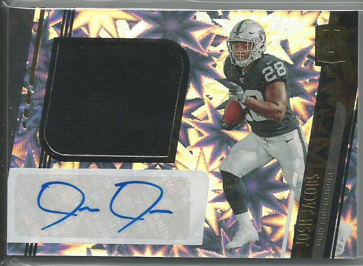 Josh Jacobs 2019 Unparalleled Rookie Patch Autograph Impact Prizm 36/75 RPA - jjb-hobby-crafts