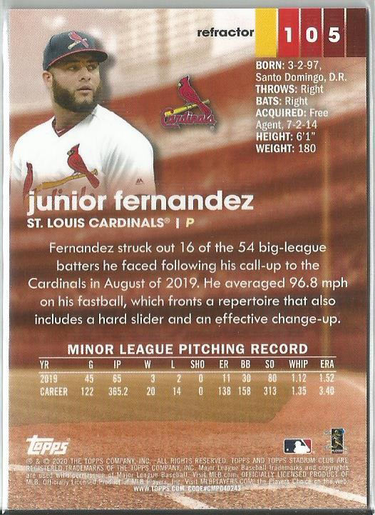 Junior Fernandez 2020 Topps Stadium Club Chrome Rookie Card Refractor #105