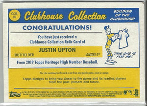 Justin Upton 2019 Topps Heritage High Number Clubhouse Collection Relic Card