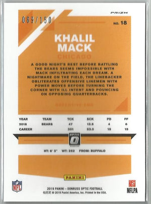 Khalil Mack 2019 Donruss Optic Football #18 Blue Prizm Holo 069/150