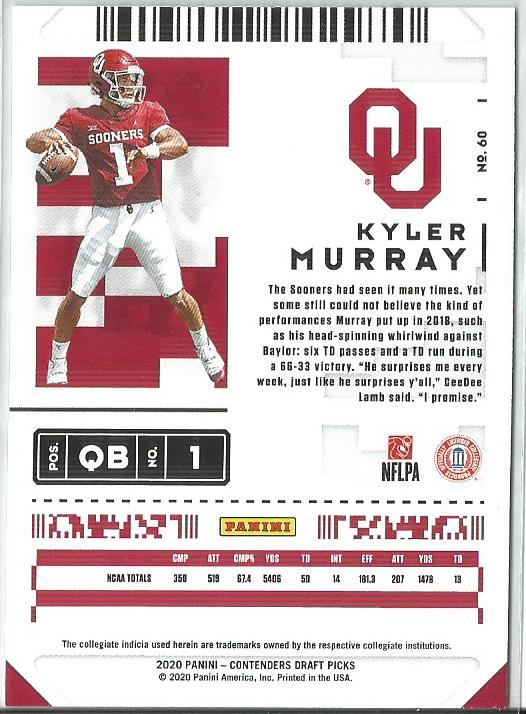 Kyler Murray 2020 Panini Contenders Draft Picks Draft Ticket Blue Foil #60
