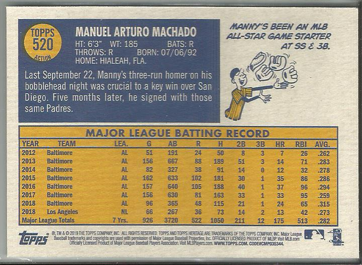 Manny Machado 2019 Topps Heritage High Number #520 Action Short Print