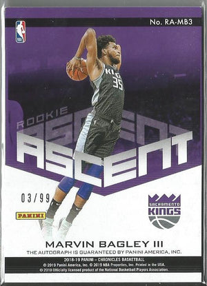 Marvin Bagley III 2018-19 Chronicles Rookie Ascent Autograph 03/99 On Card