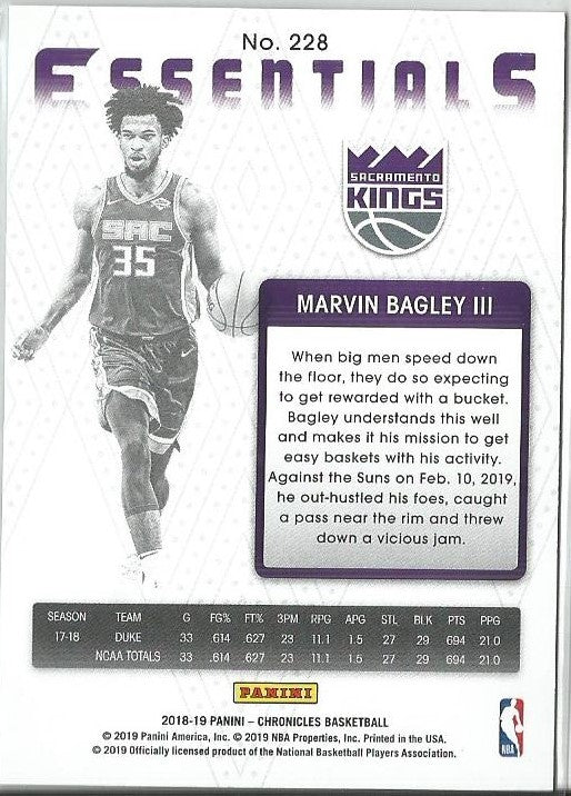 Marvin Bagley III 2018-19 Chronicles Essentials Rookie Card Red Foil 077/149