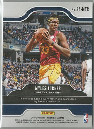 Myles Turner 2019-20 Prizm Sensational Swatches Game-Worn Material Relic
