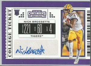 Nick Brossette 2019 Contenders Draft Picks #277 College Ticket Rookie Autograph - jjb-hobby-crafts