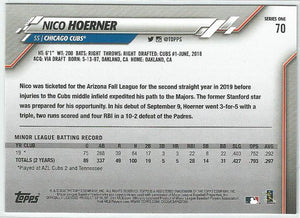 Nico Hoerner 2020 Topps Complete Set Series 1 Rookie Card #70 Gold Star Boarder