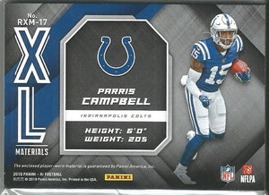 Parris Campbell 2019 XR Rookie XL Materials 2 Color Relic Card 14/25 SP!