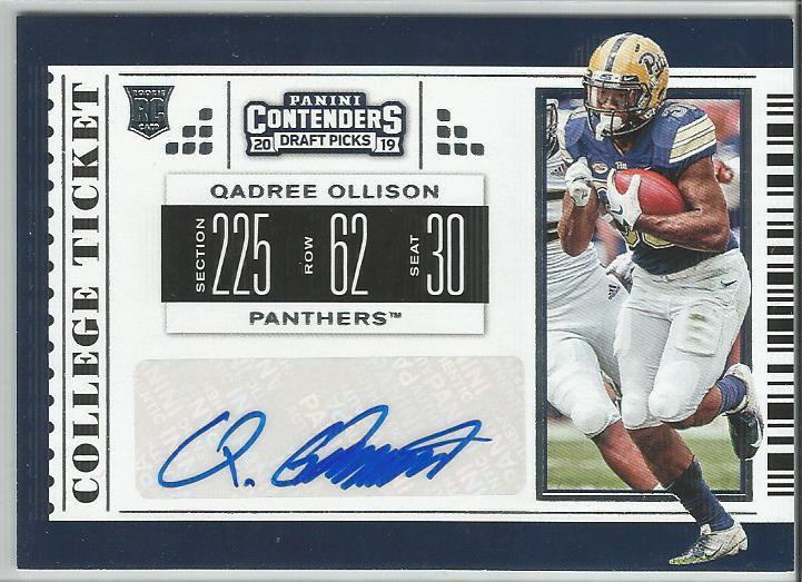 Qadree Ollison 2019 Contenders Draft Picks #175 College Ticket Rookie Autograph - jjb-hobby-crafts