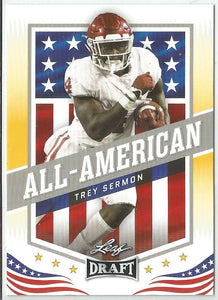 Trey Sermon 2021 Leaf Draft All-American Rookie Card Gold Parallel #43