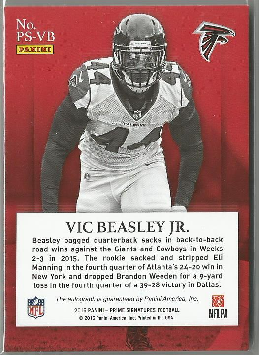 Vic Beasley JR. 2016 Prime Signatures Blue Auto 07/25 SP! - jjb-hobby-crafts
