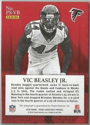 Vic Beasley Jr. 2016 Prime Signatures Red Autograph 33/49 SP!! - jjb-hobby-crafts