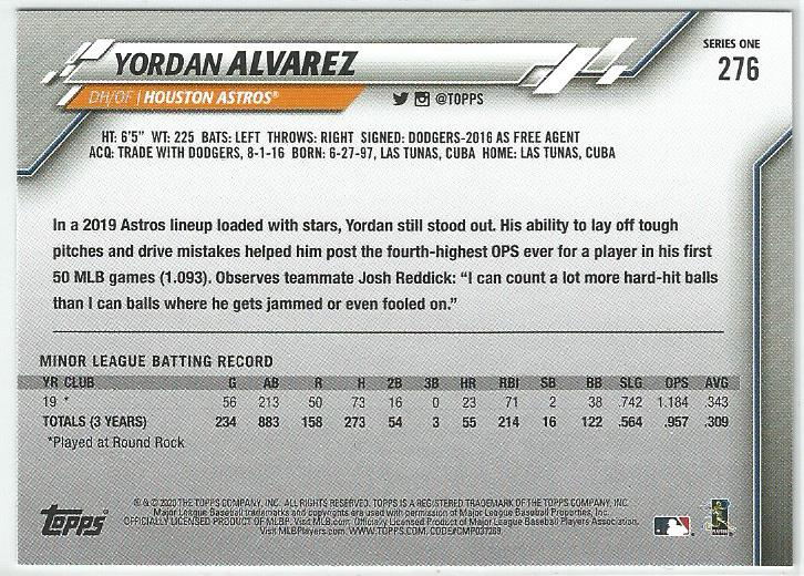 Yordan Alvarez 2020 Topps Complete Set Series 1 Rookie Card #276 Gold Star Board