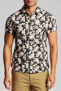 Laguna Short Sleeve Shirt - Metallic Floral