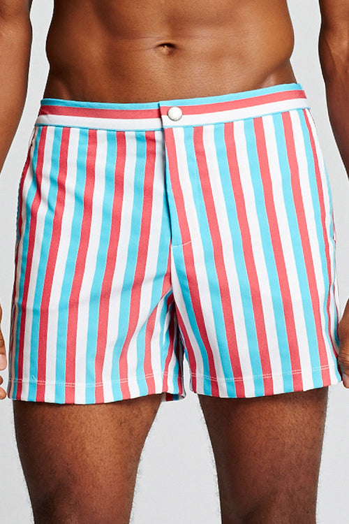 Newport Short - Blue, Red, White Stripe