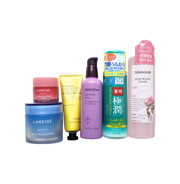 Skincare products from Laneige, Benton, Innisfree, Mamonde, Hadalobo