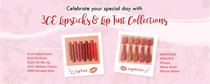 3CE lipsticks and lip tint in red and pink