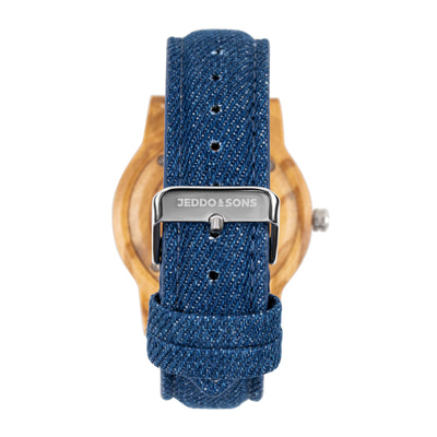 Olive Wood Watch with Denim Strap