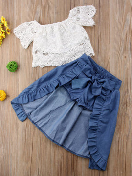 8c35de229 Lace Off Shoulder Top with Denim Shorts and Removable Skirt 3 PCS Set for  Baby and ...