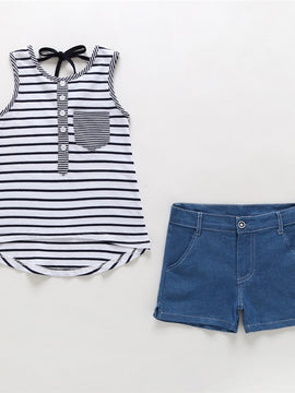 Toddler Girls Striped Blue Pant Sets Sleeveless Off Shoulder Crop Tops Short Striped Loose Pants Casual Summer Clothes