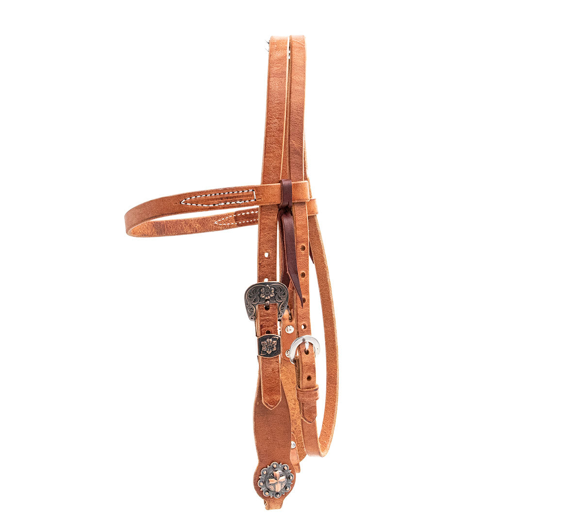 Load image into Gallery viewer, Berlin Leather - Brown Harness Headstall Copper Cross Conchos - Animal Health Express
