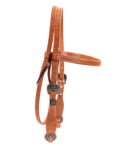 Berlin Leather - Brown Harness Headstall Copper Cross Conchos - Animal Health Express