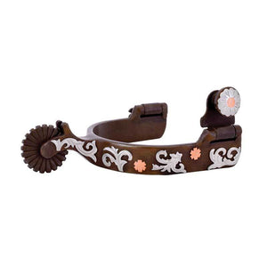 Partrade Youth Spurs with Floral Trim and Copper Accents