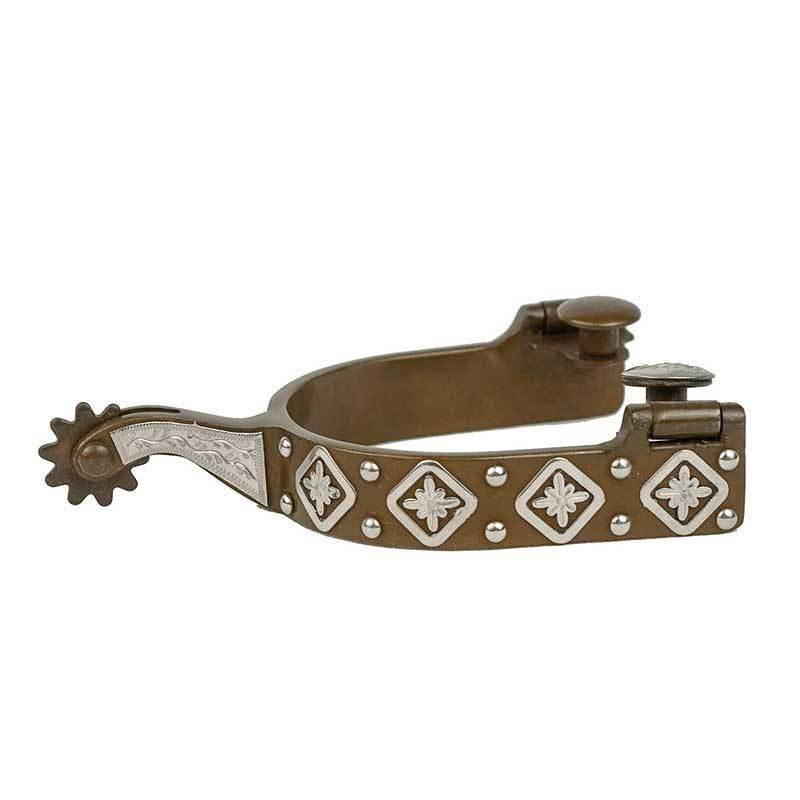Partrade Mens Antique Finish Spurs with Diamond Floral Design