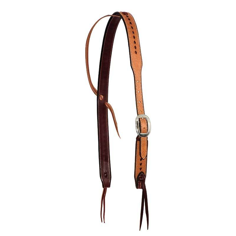 Partrade Leather Roughout Slip Ear Headstall with Buckstitching