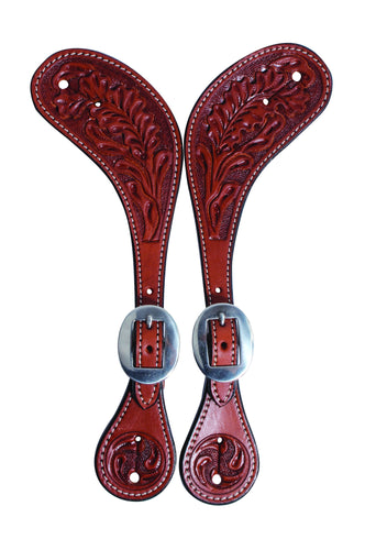 Professional's Choice Oak Tooled Spur Straps - Animal Health Express