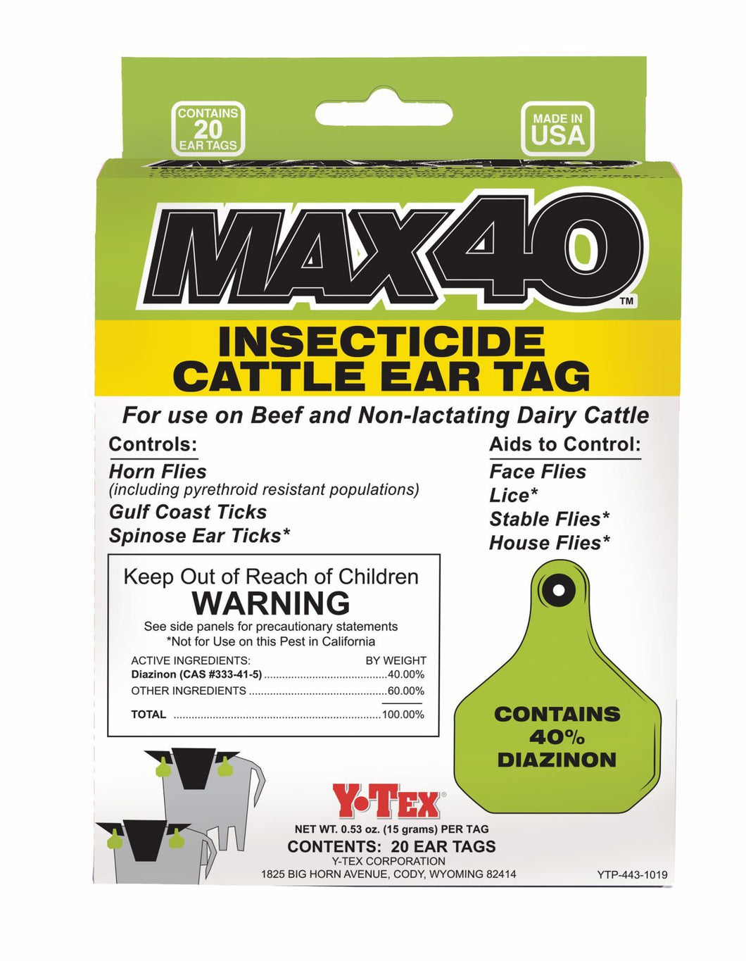 Y-Tex Max 40 Insecticide Fly Tag
