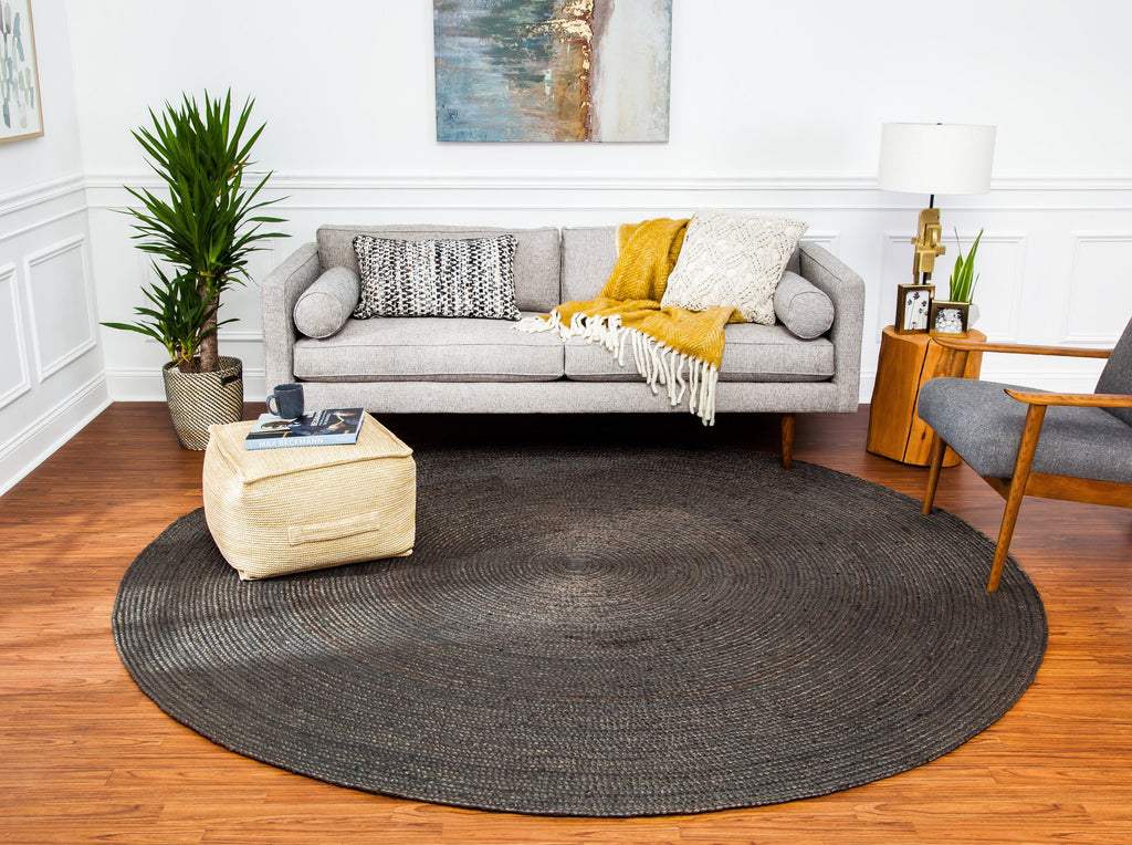 Sensational Kerala Dark Gray Round Jute Rug Natural Rug Co Pabps2019 Chair Design Images Pabps2019Com