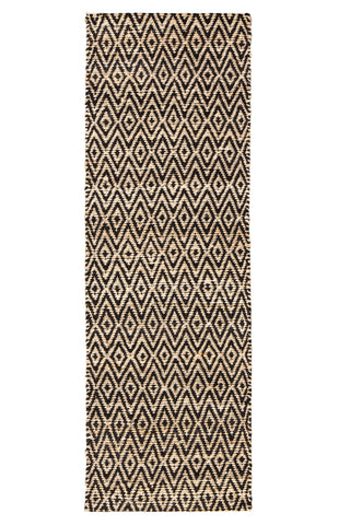 Zircon Black Diamond Jute & Cotton Rug Runner