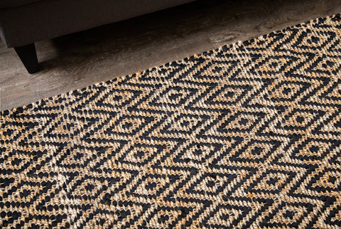 Zircon Black Diamond Jute & Cotton Rug