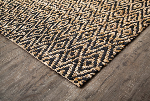 Zircon Black Diamond Jute & Cotton Rug Corner Edge Detail