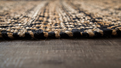 Zircon Black Diamond Jute & Cotton Rug Edge Detail