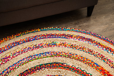 Maya Cotton and Jute Round Rug