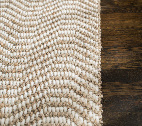 Dusty Waves Jute Rug Weave Pattern Close Up