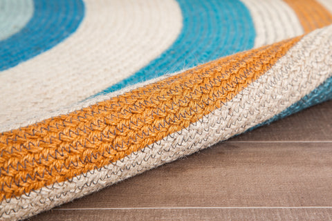 Orange Halo Round Jute Area Rug