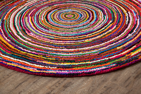 Rippled Rush Round Cotton Rug