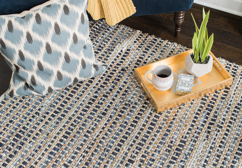 Bell Bottom Blues Cotton Rug Weave Pattern