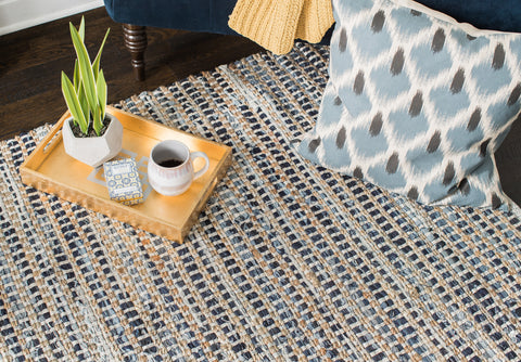 Bell Bottom Blues Cotton Rug
