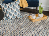 Bell Bottom Blues Cotton Rug Weave Pattern Detail