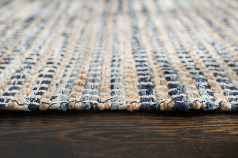 Bell Bottom Blues Cotton Rug Edge Detail
